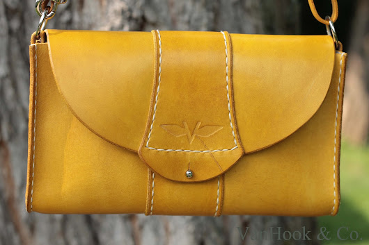 Yellow Leather Purse with Convertible Strap