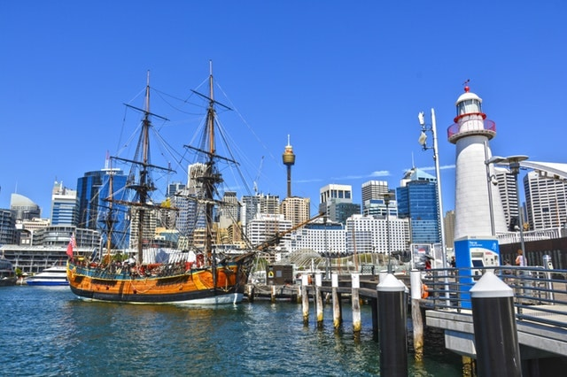 Boats and yachts at Darling Harbour on a bright and sunny day in Sydney, Australia