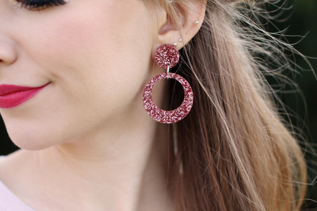 60s style big pink glitter earrings