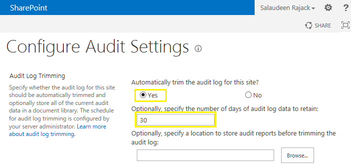 trim audit logs sharepoint 2013