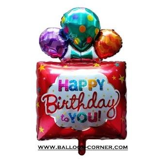 Balon Foil HAPPY BIRTHDAY Kado Jumbo (MERAH)
