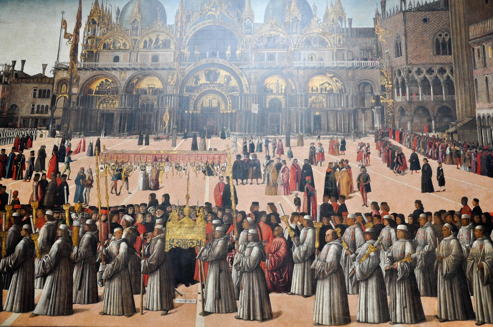 Close-up, Procession in St. Mark's Square, Giovanni Bellini, Gallerie dell'Accademia in Venice