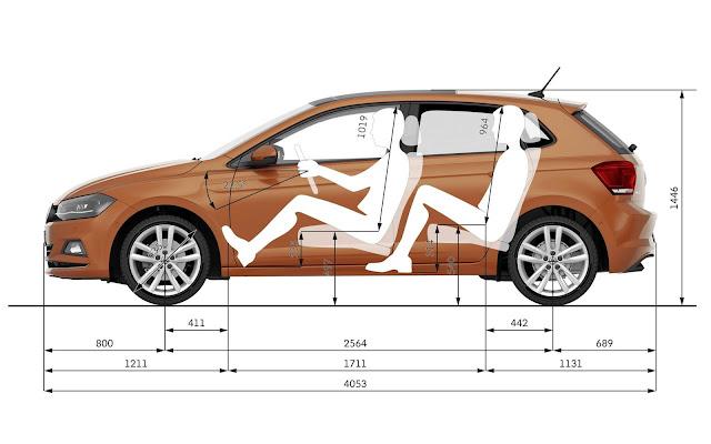 Novo VW Polo 2018 - dimensões externas e internas