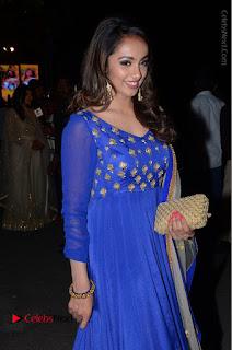 Telugu Actress Tejaswi Madivada Pos in Blue Long Dress at Nanna Nenu Na Boyfriends Audio Launch  0077.JPG
