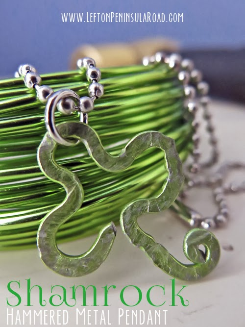 Green Wire Hammered and Shaped into a Shamrock.