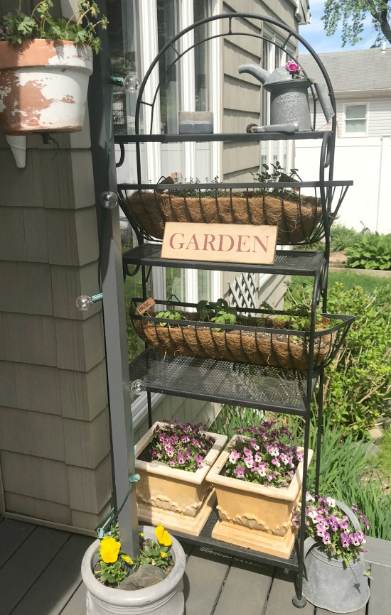 Baker's Rack Herb Garden using metal flower boxes
