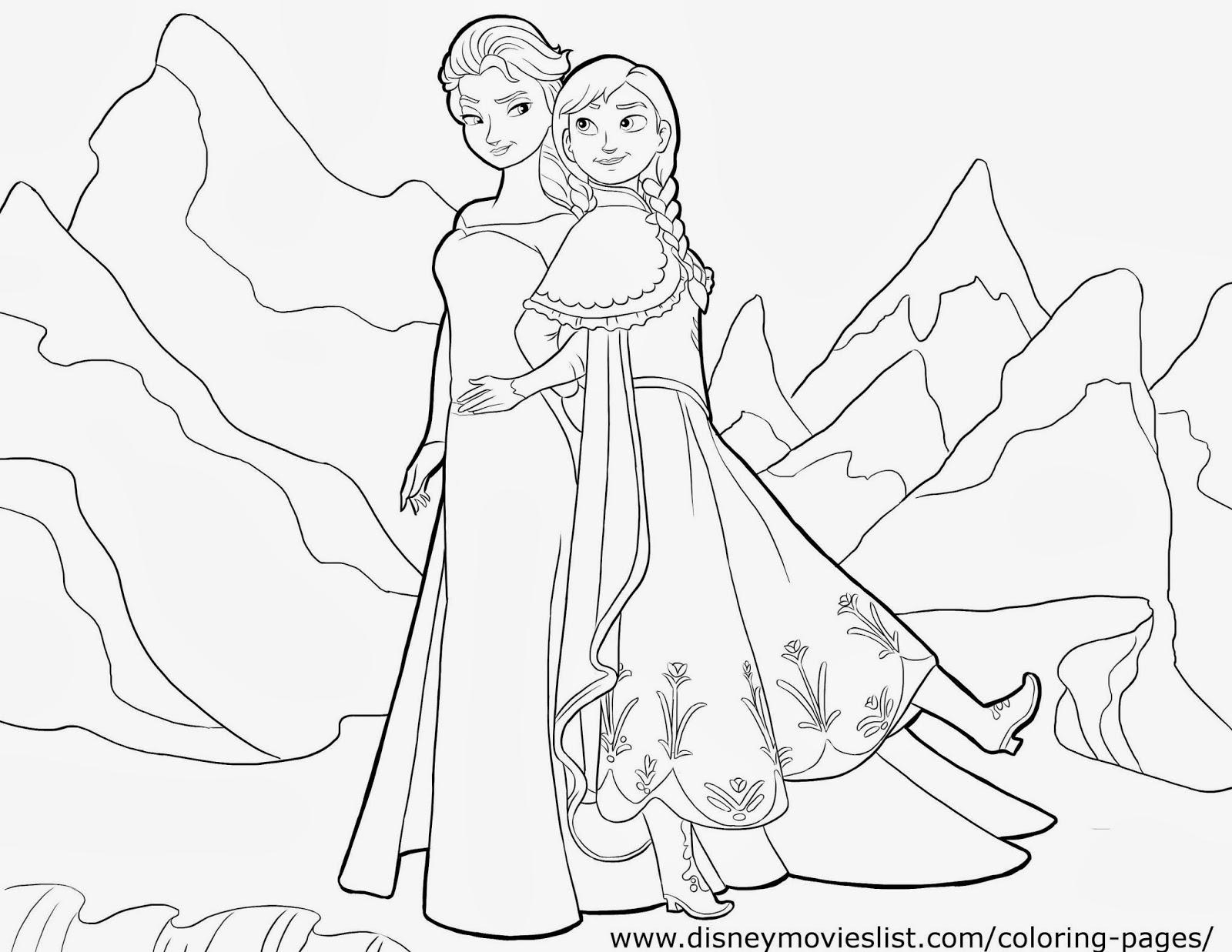 Frozen: Imágenes de Ana y Elsa para colorear, para