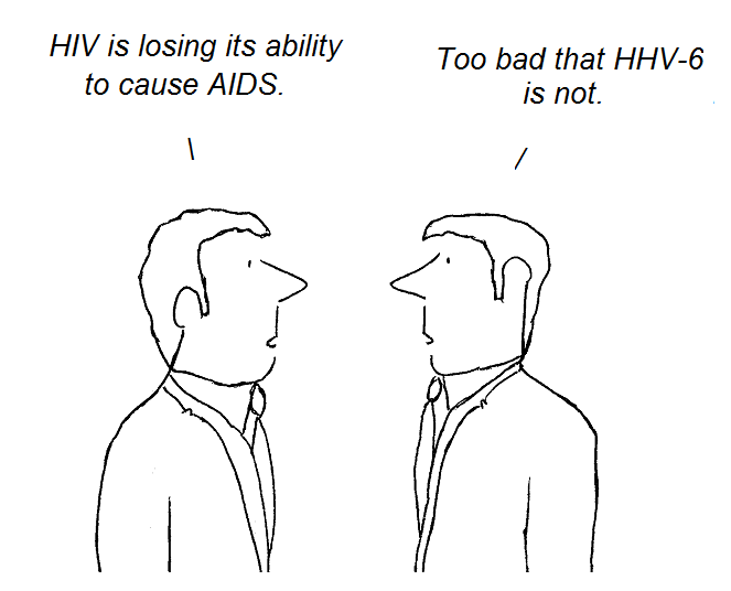 cartoon, hhv-6, aids, hiv, cfs, gallo, fauci, knox, chronic fatigue syndrome