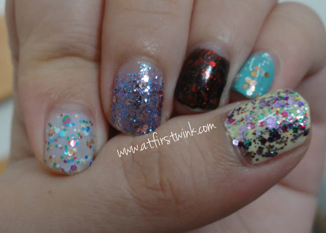 colorful glittery nails using Etude House, Peripera, and Innisfree nail polishes