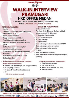 WALK IN INTERVIEW PRAMUGARI LION AIR T(MEDAN) 2020 SMA SMK