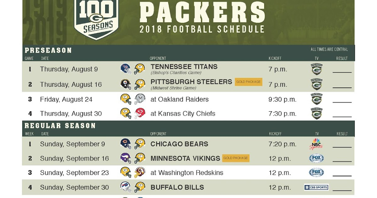 Candid image inside green bay packers printable schedule