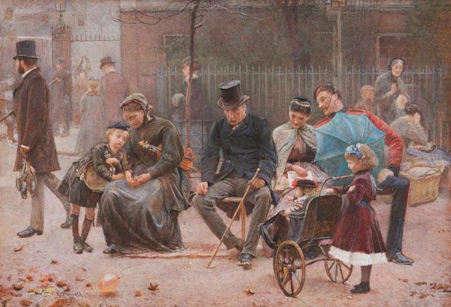 "Artwork, XIX century art, watercolours, ""A seat in St James's Park"" by George John Pinwell, 1869."