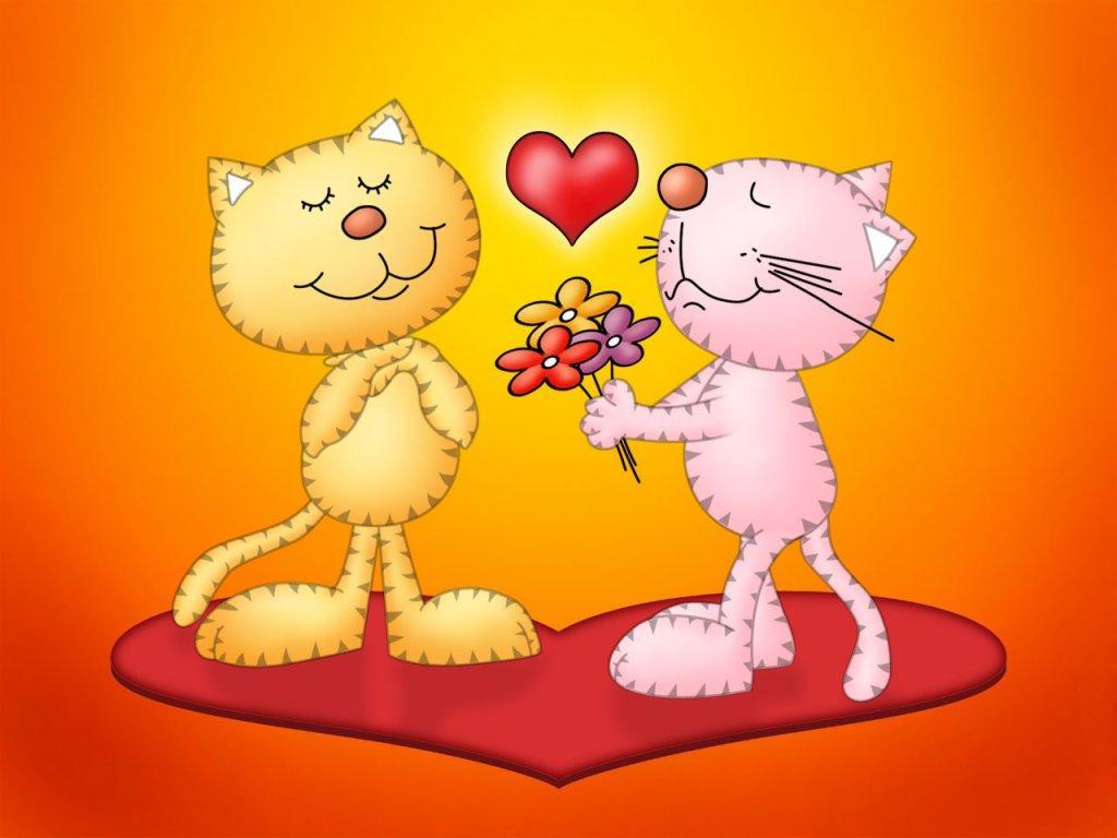 Gatitos Enamorados Sobre Un Corazón Wallpaper Hd Ultra