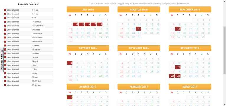 Gambar kalender pendidikan terbaru tahun pelajaran 2016-2017