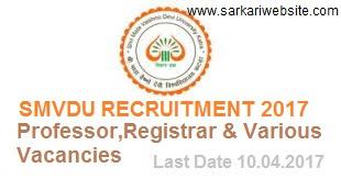 Professor, Registrar & Various Vacancies