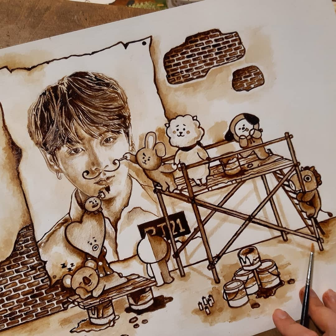 09-BT21-Characters-Nuria-Salcedo-Detailed-Portrait-Paintings-Using-Coffee-www-designstack-co