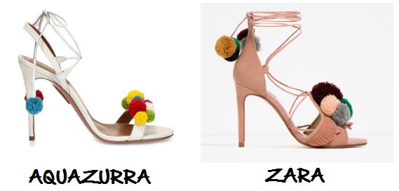 Clon sandalias pompom Aquazurra Zara