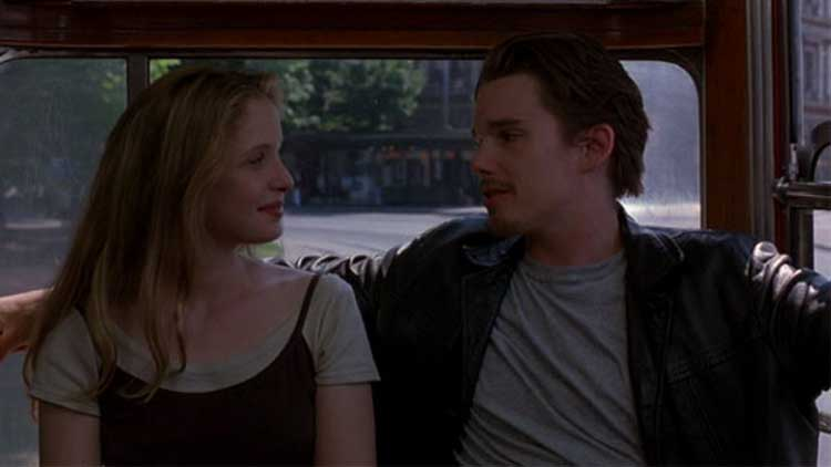 Jesse (Ethan Hawke) and Celine (Julie Delpy) hang out in Before Sunrise.