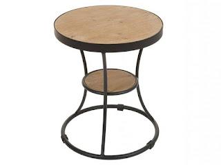 mesa salon redonda baja forja madera