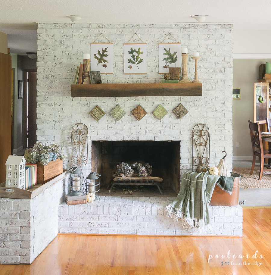fall fireplace and mantel decor