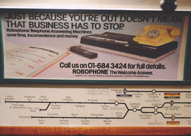 1970s London underground advert Robophone
