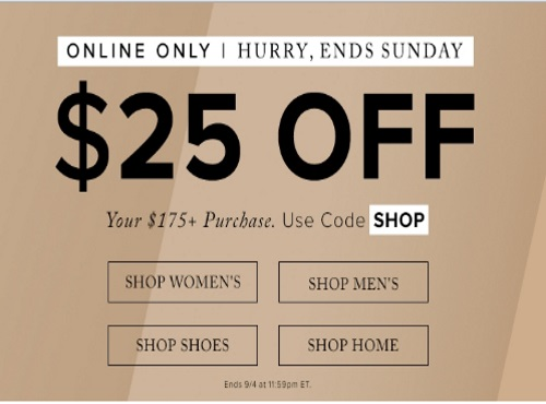 Hudson's Bay $25 Off Labour Day Weekend Savings