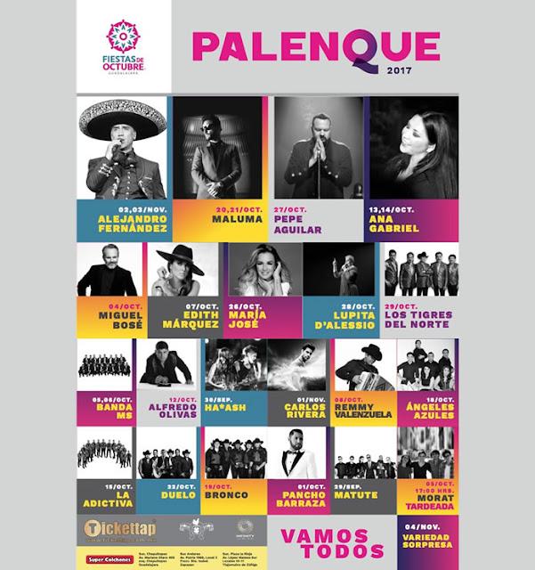 Conciertos Palenque Fiestas de Octubre en Guadalajara