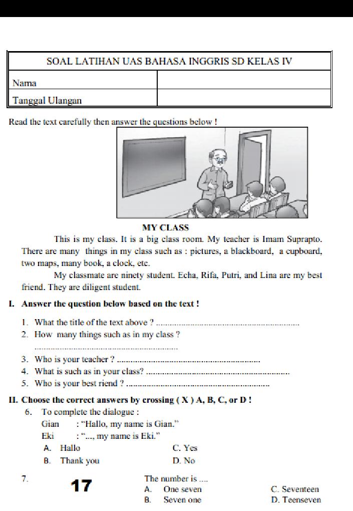 Soal Dan Jawaban Pas Uas Bahasa Inggris Kelas 4 Semester 1 Serba Serbi Guru Serba Serbi Guru