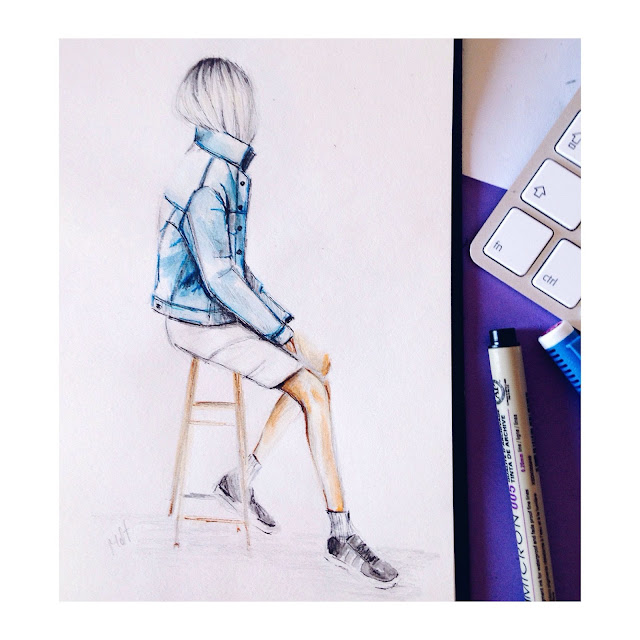 denim, jacket, sketch, look