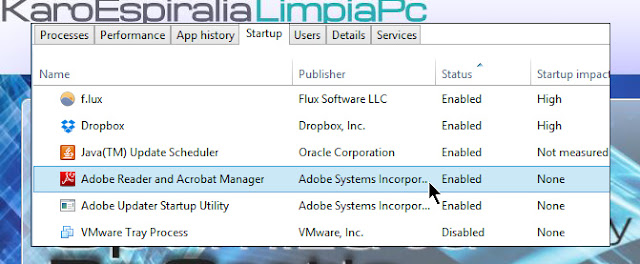 Adobe Reader and Acrobat Manager en la rutina de inicio del sistema