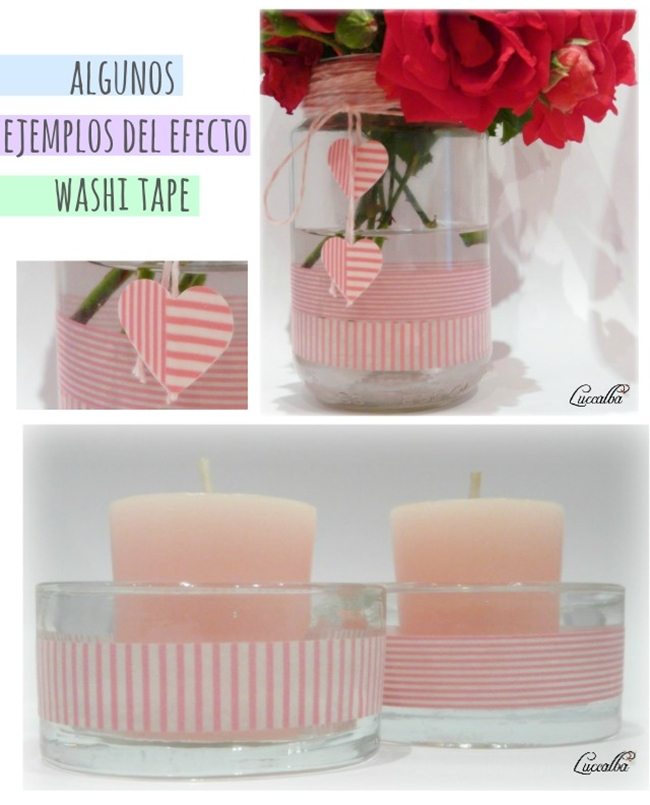 Washi tape, decoración, portavelas, jarro