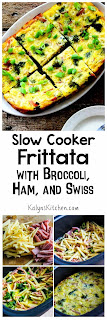 Slow Cooker Frittata with Broccoli, Ham, and Swiss found on KalynsKitchen.com