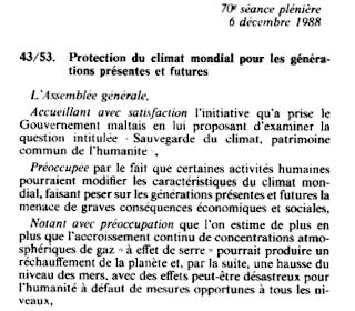Résolution 43/53 de l'AGNU : le climat préoccupation commune de l'humanité