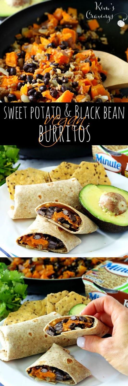Sweet Potato and Black Bean Vegan Burritos