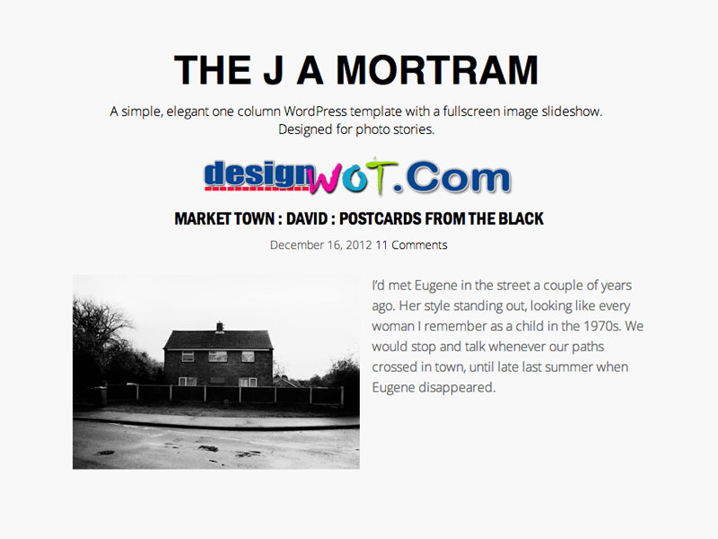The J A Mortram WordPress Theme
