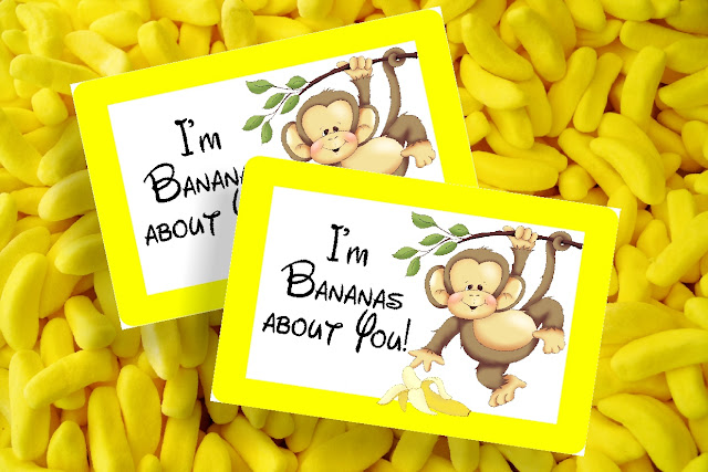 I'm Bananas About You! This free printable bag topper will show you how much this Valentine's day.  Simply print off the bag topper, add some candy bananas or dried bananas slices to a bag, and then add your To and From to the back for an easy class valentine perfect for boys or girls.