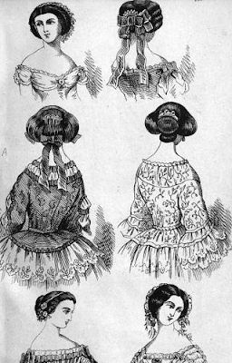 "Six hair styles, from ""How to Arrange the Hair"" (1857)"