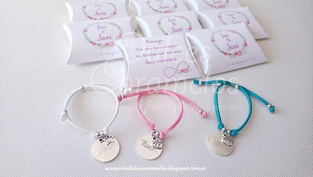 pulseras grabadas amigas bodas