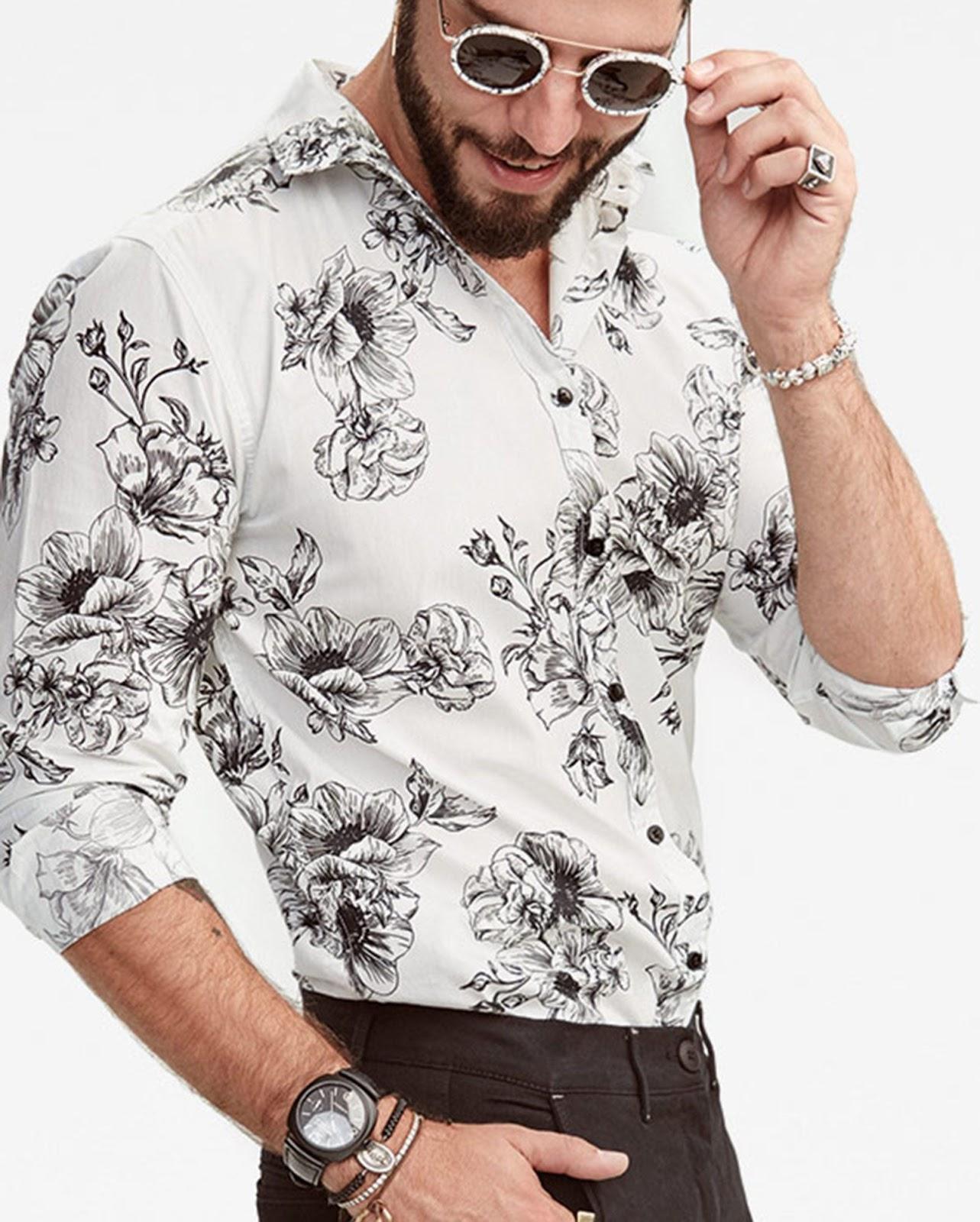LEO KLEIN - KADU DANTAS PARA RIACHUELO - Camisa Floral P&B