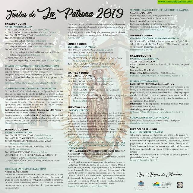 Programa de las Fiestas de La Patrona 2019 en Los Llanos de Aridane