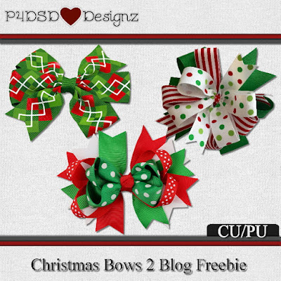 Christmas Bows Set 2 Blog Freebie