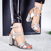 Sandale Piele Nimali argintii cu toc