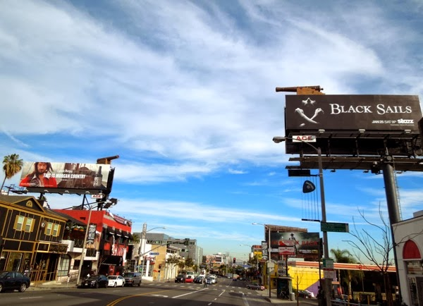 Captain Morgan Black Sails cannon billboard installation Sunset Strip