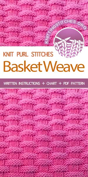 KnittingStitches.org -- The Art of Knitting, knit Basketweave stitch #knittingstitches #knitpurl
