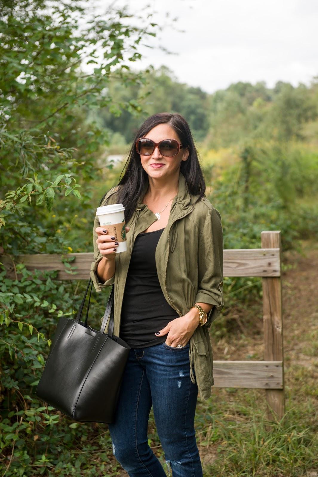 Mom Style, Olive Jacket, Prada Sunglasses