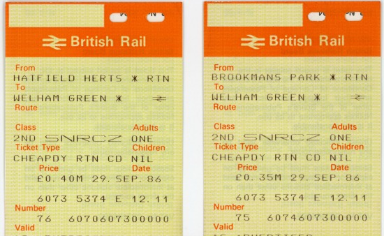 Scanned image of The first day return tickets to be issued from Welham Green station Image from Ron Kingdon
