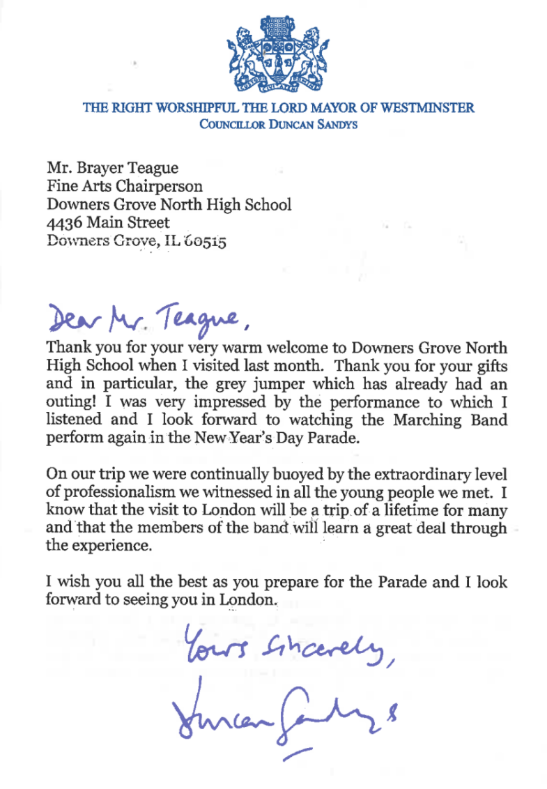 Dgn Band London New Years Parade 2019 Thank You Letter From Lord