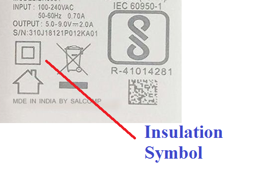 Insulation Symbol on the mobile charger, how to choose the right mobile charger