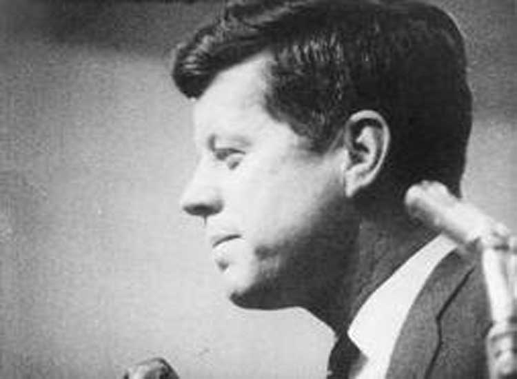 John F Kennedy competes in the Democratic race in Primary.