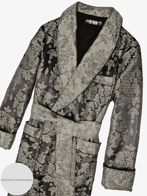 Mens luxury paisley dressing gown cotton robe gentleman smoking jacket